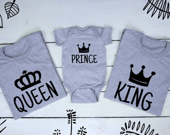 c40e5aac King Queen Prince Matching Family T-Shirts Royal Family Mother Father Son  Matching shirts Mommy and Me Family Gift King Queen Prince Shirt