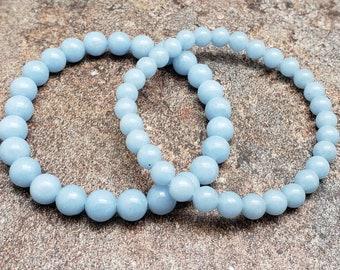 Amazonite Bracelet Light Blue Bracelet Custom Angelite Bracelet with Amazonite and Stainless Steel Angelite Stacking Bracelet