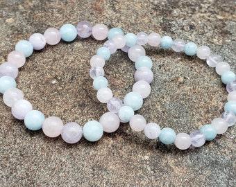 Morganite Bracelet *8mm *Healing *Compassion *Strength *Gemstone *Beaded