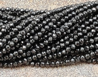 2mm Black Spinel Faceted Round Beads, AAA Grade, 13 inch