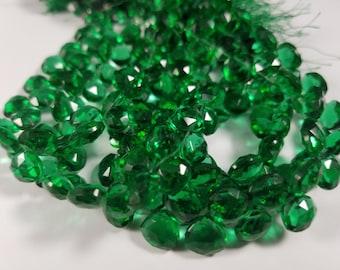 9.5 x 9.5mm Green Quartz Heart Briolettes, 8 inch