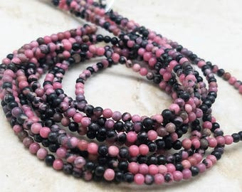 2mm or 3mm Rhodonite Smooth Round Beads, 15 inch