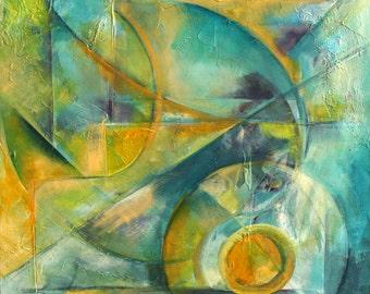 Sur un fond d'Ocean - Original painting - Abstract Composition