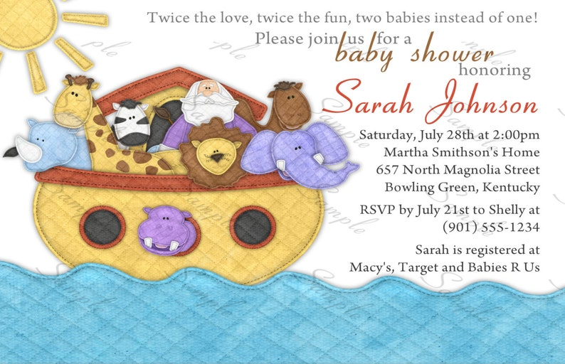 Single or Twins Noah/'s Ark Baby Shower Invitation