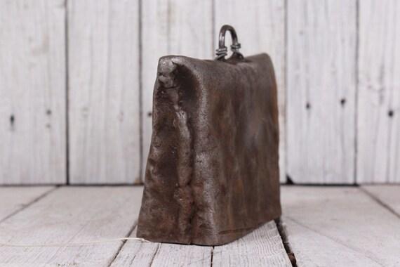 Antique bell, Primitive bell, Cow bell, Vintage bell, Hand hammered bell,  Rustic big bell, Metal bell, Primitive cow bell, Bell with string