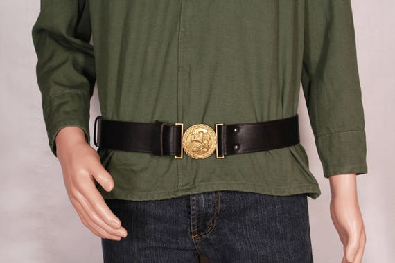 Military Leather Belt Vintage Men's Belt Black Wid