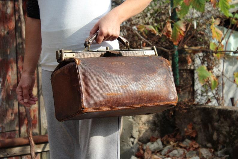b1646aa8ec2c9 1900er Jahren arzttasche Top Griff Tasche Vintage braun