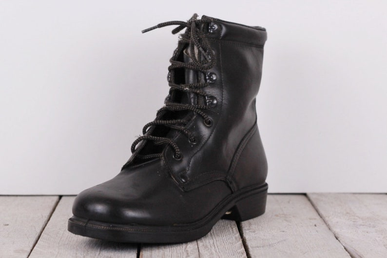 Military shoe size US 7.5 Military shoe Men/'s boot Vintage army boot Black leather Punk shoe