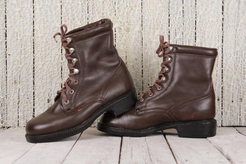 promo code 117d9 cfbd7 Militärische Schuhe, Herren Stiefel, Vintage Army Stiefel, braune  Lederstiefel, Leder Stiefel Knöchel, Punk Schuhe, Militär Schuhe Größe US 8