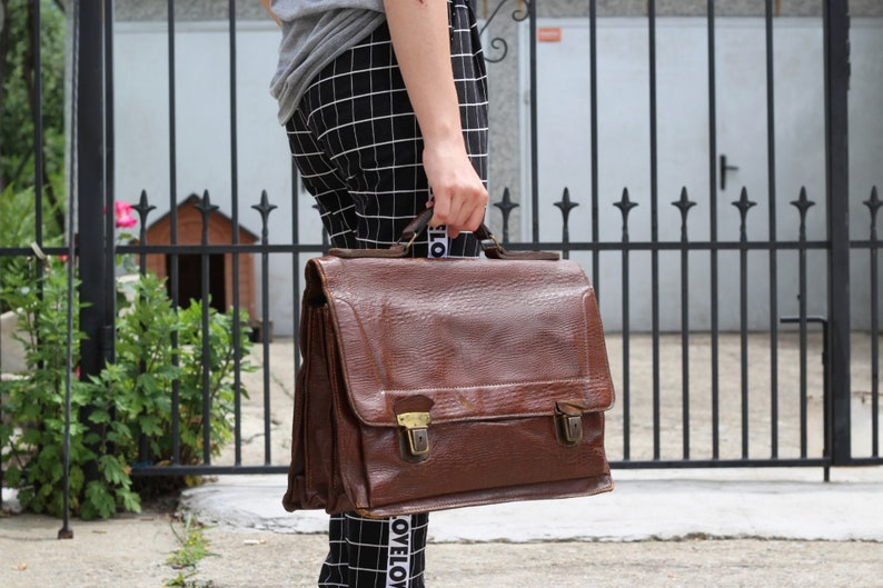 Marron OldEtsy Sac Daffaires En Vintage Cuir Cartable eQdWrxoCB