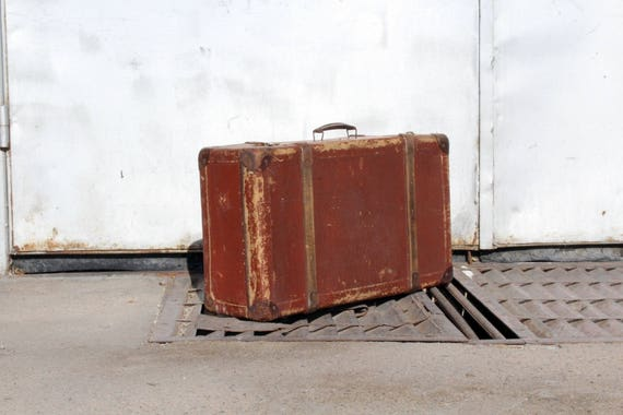 Antique Suitcase - Red Suitcase - Vintage Suitcase