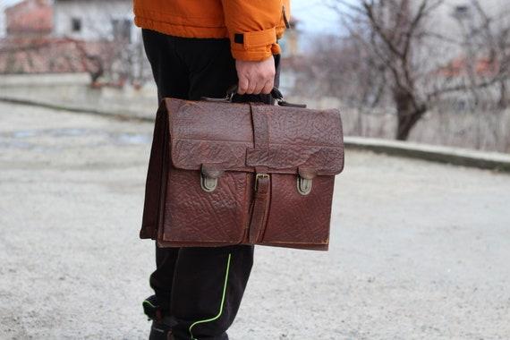 Vintage briefcase Leather business bag Brown top h