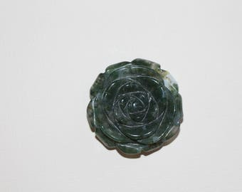 Moss agate rose pendant