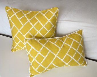 Decorative Geometric Corded Pillow Cover - Yellow and White