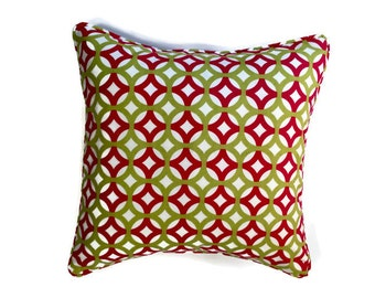Decorative Geometric Corded Pillow Cover - Pink, White, and Green