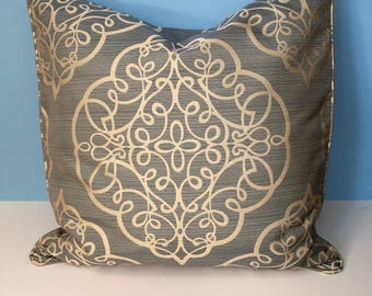 20' Decorative Geometric Corded Pillow Cover - Blue and Beige 20x20