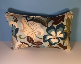 OUTDOOR Corded Pillow Cover - Blue, Green, and Brown Floral