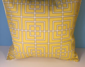 OUTDOOR Corded Pillow Cover - Yellow, White, and Gray Geometric