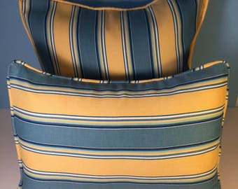 OUTDOOR Corded Pillow Cover - Blue  and Yellow Stripe