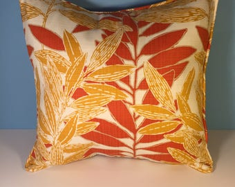 OUTDOOR Corded Pillow Cover - Orange and Yellow Floral