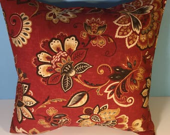 OUTDOOR Corded Pillow Cover - Red Floral