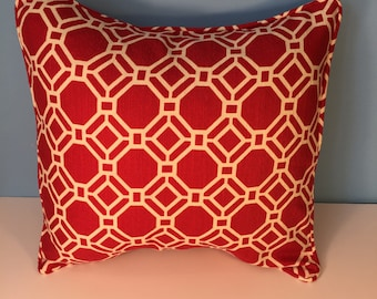 Decorative Corded Pillow Cover - Red and White Geometric