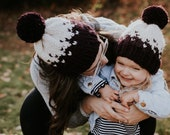 Mommy and Me Fair Isle Knit Hat - Ombré Yarn Pom Pom Infant-Adult Sizes
