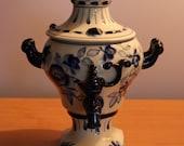 Vintage Ceramic Samovar, Gzhel Painting, Soviet Vintage, Russian Folk Art, USSR
