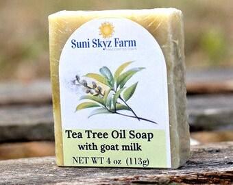 Tea Tree Oil Goat Milk Soap - Tea Tree Oil Goats Milk Soap - Tea Tree Goat Milk Soap - Tea Tree Oil Soap - Artisan Tea Tree Oil Soap