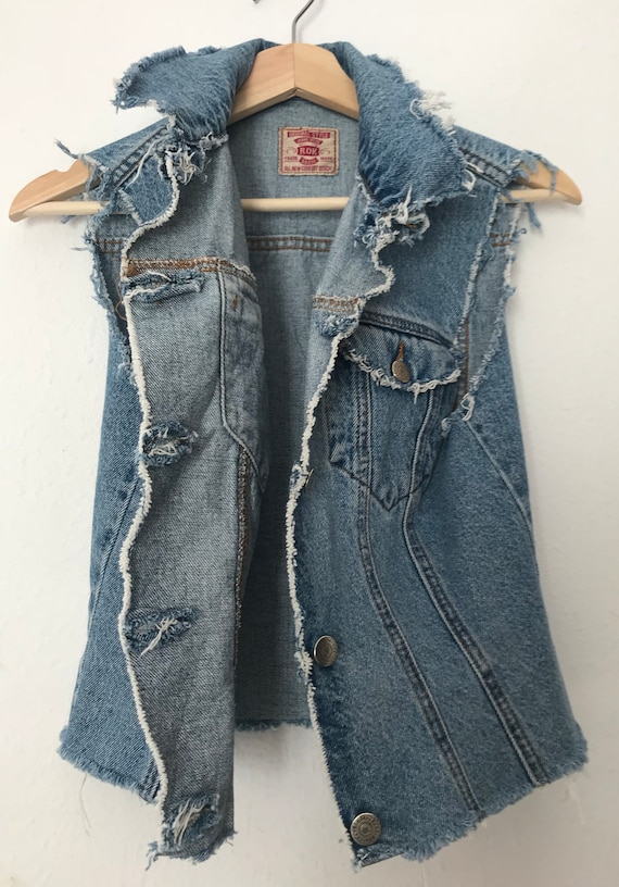 Distressed Blue Denim Vest ~ Distressed Grunge Ve… - image 8