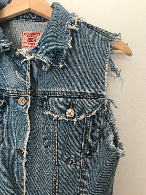 Distressed Blue Denim Vest ~ Distressed Grunge Ve… - image 4