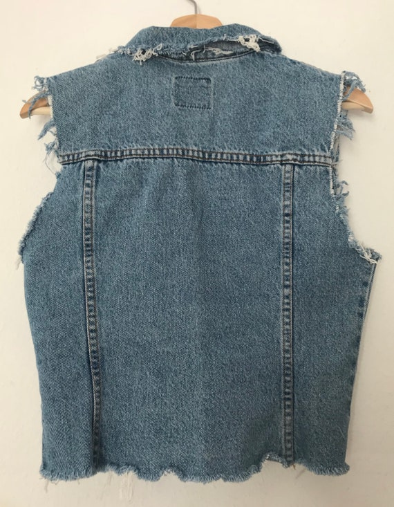 Distressed Blue Denim Vest ~ Distressed Grunge Ve… - image 7