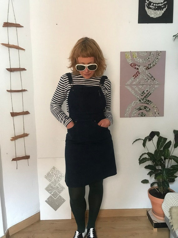 1980 Dark Blue Vintage Denim Overall Skirt Dress |