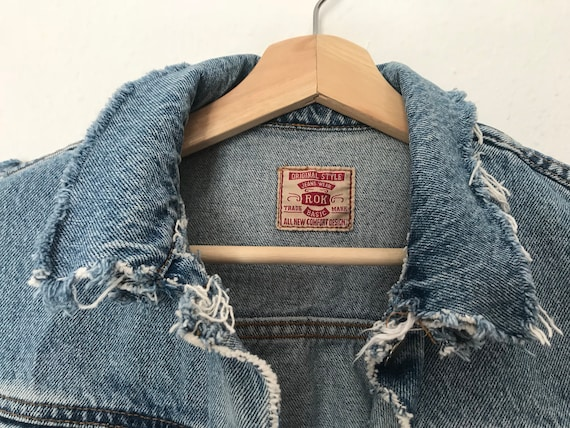 Distressed Blue Denim Vest ~ Distressed Grunge Ve… - image 6