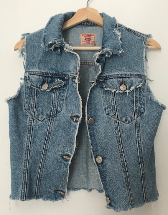 Distressed Blue Denim Vest ~ Distressed Grunge Ve… - image 1