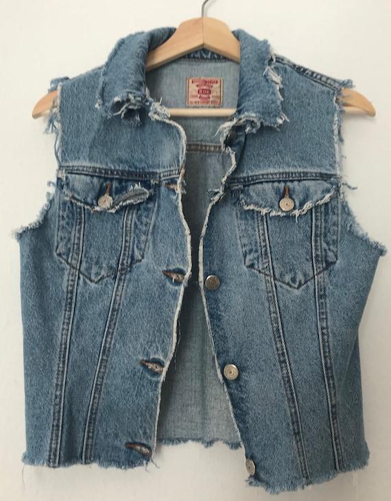 Distressed Blue Denim Vest ~ Distressed Grunge Ves