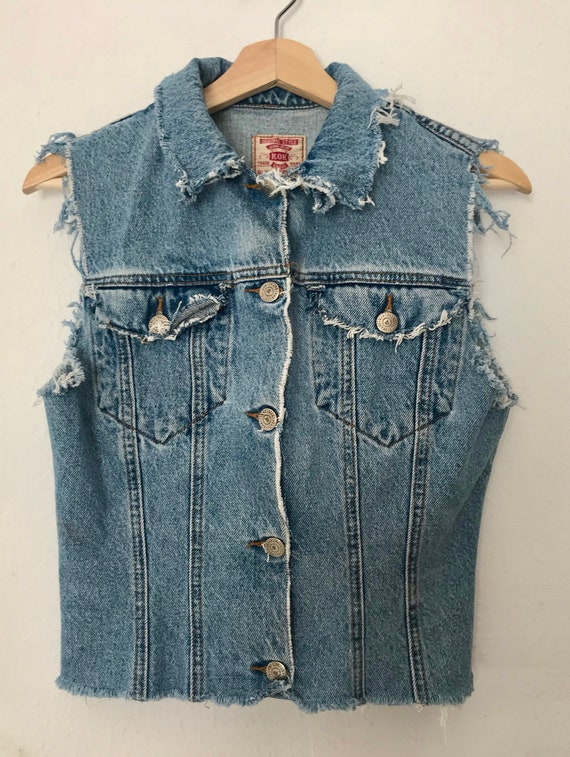 Distressed Blue Denim Vest ~ Distressed Grunge Ve… - image 2