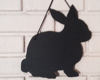 Easter Bunny - Rabbit- Handmade Chalkboard Wall Hanging Silhouette - Shadow - Kid's Room Decoration