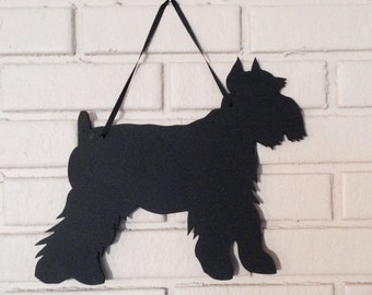 Schnauzer  Handmade Chalkboard  Wall Hanging - Chalkboard Silhouette - Shadow - Country Decoration - Dog