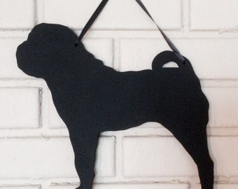 Chinese Shar Pei Handmade Chalkboard Wall Hanging - Dog Shadow Silhouette - Country Decoration - Great Gift