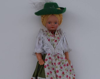 a78ee85003a Vintage Austrian Girl Doll Green Hat Dress Apron Floral German Swiss Blonde  Hair Small Toy