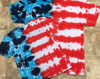 Tie Dye red white blue 4th of July Independence Day Kids T-shirt