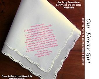 Our Flower Girl Gift Handkerchief ~ 0905C Sign & Date Free!  5 Flowergirl Handkerchief Styles and 8 Ink Colors. Flower Girl Hankerchief