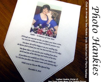 NEW! Wedding Handkerchief Gift With Your Photo and Poem or Sentiment Printed on the Hankie