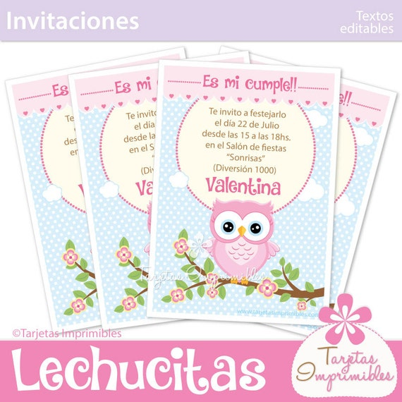 Búho Rosa Para Nena Tarjetas De Invitación Para Imprimir Texto Editable Pdf