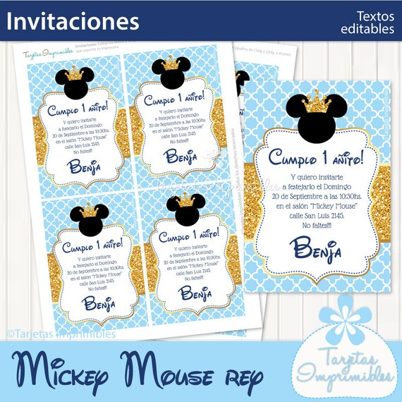 Mickey Mouse Rey Invitaciones Para Imprimir Texto Editable Pdf Descarga Inmediata Efecto Glitter Dorado