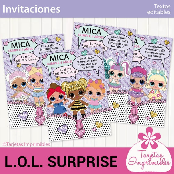 Invitaciones Para Imprimir Lol Surprise Entrega Inmediata Pdf Con Texto Editable