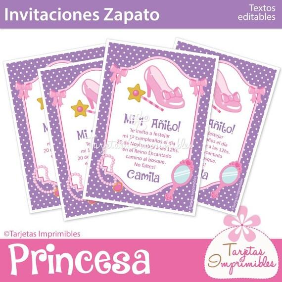 Princesa Color Rosado Tarjetas De Invitacion Para Imprimir Etsy