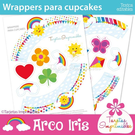 rainbow wrappers and toppers for cupcakes to print pdf etsy