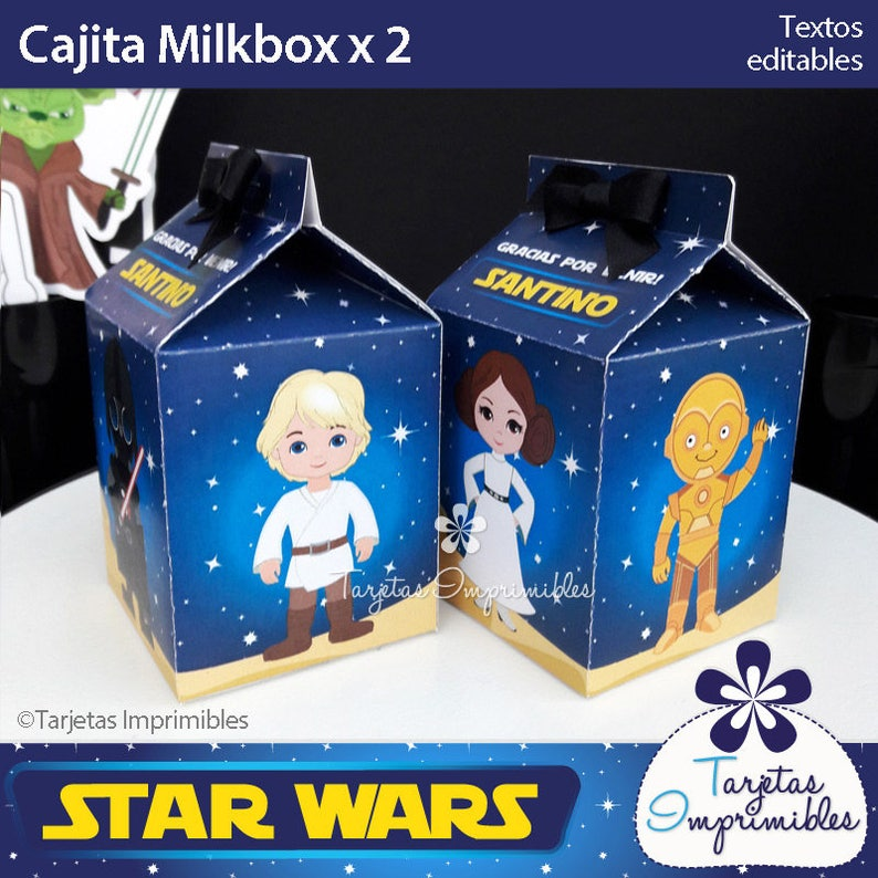 Descarga inmediata. PDF Texto editable Star Wars Cajitas tipo Milkbox para imprimir